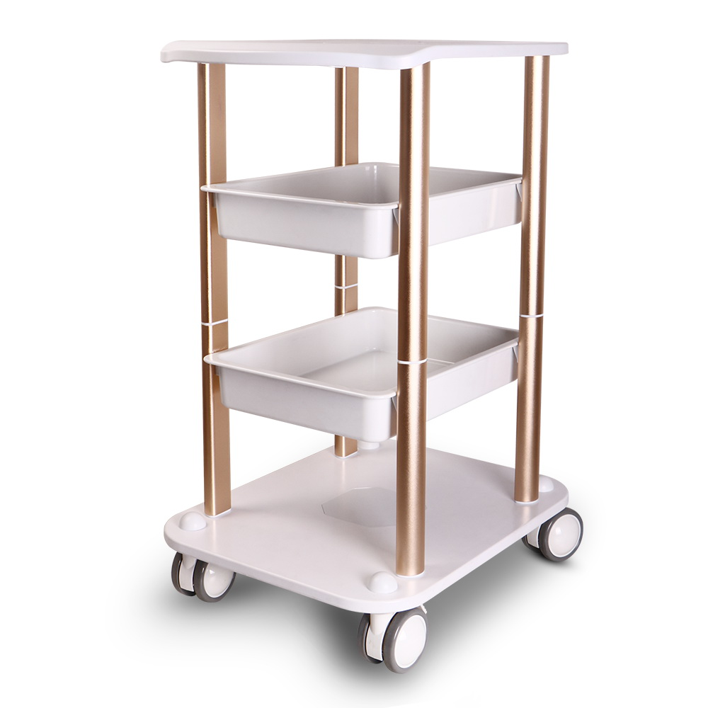 New two shelf abs pedestal rolling cart salon trolley for Salon trolley