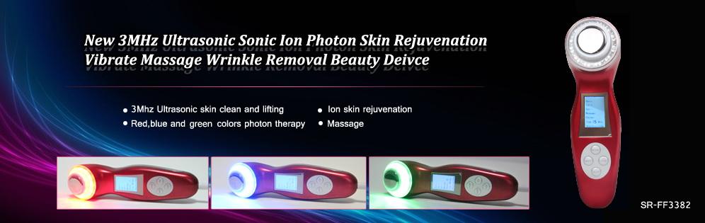 3MHz Ultrasonic Sonic Ion Photon Skin Rejuvenation Vibrate Massage Beauty Device