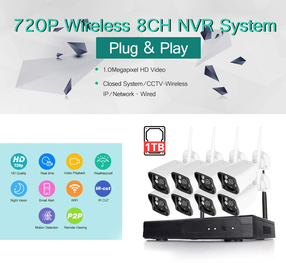 new outdoor 720p hd itb wireless 8ch cctv security kit wifi ip camera nvr system ebay. Black Bedroom Furniture Sets. Home Design Ideas