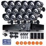 16ch h.264 dvr 1/4cmos 24ir-led 3.6mm 700tvl outdoor cctv security camera system