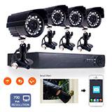 4ch h.264 security dvr 1/4cmos 24ir-leds 700tvl outdoor ip66 cctv camera system